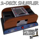 1-2 Deck Wooden Deluxe Card Shuffler w/ Batteries
